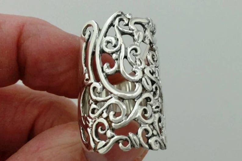 Handmade Ring #256 Sterling Wrap Ring Floral Lace Large Band Ring Sterling Silver Ring