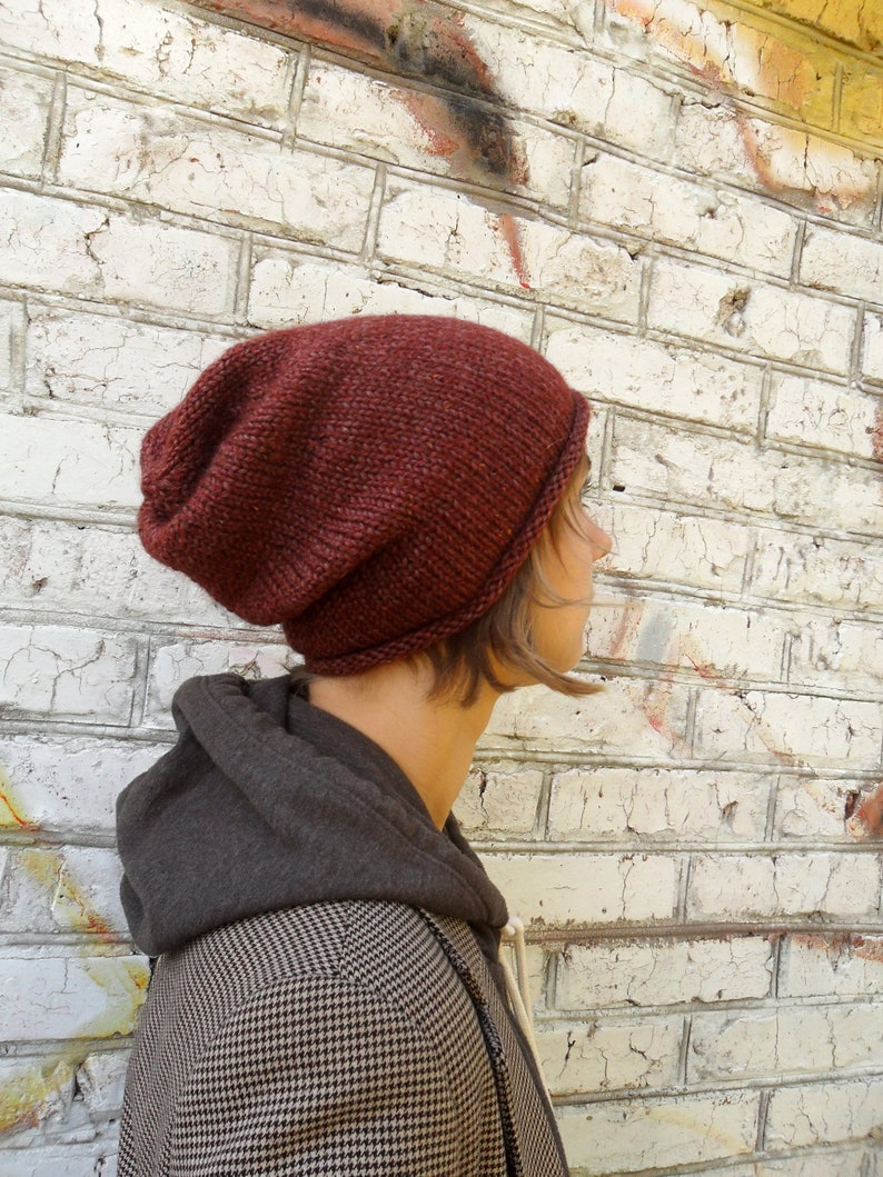 718b657cf1f57 Maroon winter slouch hat. Wool slouchy beanie for women or