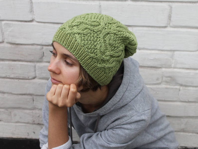 0b7774fa431 Irish green hand knit hat with cables and Celtic knot Wool
