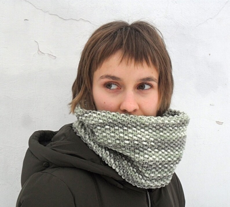 Mottled green wool cowl, Hand knit infinity scarf, Minimalist unisex snood  for women or men, Circle textured muffler