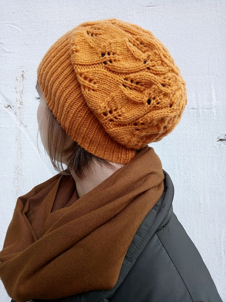 Winter toque Fall Bohemian slouch hat Aesthetic handmade gift Wool hand knit hat for women Spice orange slouchy beanie hat