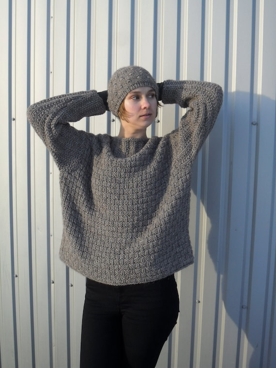 Alpaca Chunky Hand Knit Loose Sweater. Oversized Taupe Wool Pullover. Large aesthetic clothing for women.
