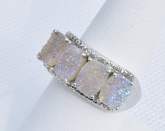 Snow White Drusy Quartz (Cush) 5 Stone Ring in Platinum Overlay Sterling Silver Nickel Free (Size 9) TGW 7.35 Cts.