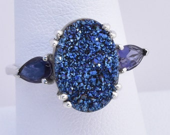 Cobalt Blue Drusy Quartz (3.75 ct.), Iolite Ring in Platinum Overlay 925 Sterling Silver, Nickel Free (Size 9), TGW 4.45 cts.