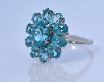 Paraiba Apatite Ring in Platinum Overlay Sterling Silver, Nickel Free (Size 9). TGW 7.20 cts.