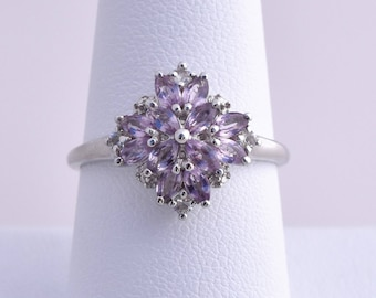 Purple Spinel, White Topaz Ring in Platinum Overlay 925 Sterling Silver, Size 9, TGW 1.28 cts.