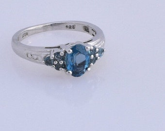 Blue Topaz, Electric Blue Topaz Ring in Platinum Overlay 925 Sterling Silver, TGW 1.35 cts.