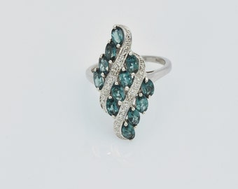 Indian Ocean (Teal) Apatite, Diamond Ring in Platinum Overlay Sterling Silver, Nickel Free (size 9) TDiaWt 0.01 cts., TGW 3.26 cts.