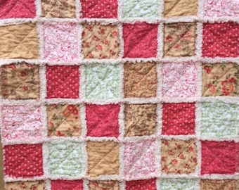 Shabby Chic Country Baby Toddler Rag Quilt Blanket Red Gold Green Ivory