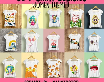 50 designs Woman Vector packs t-shirt tee designs AI Illustrator