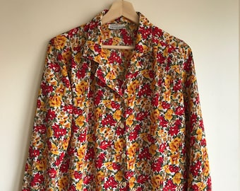 1980s Vintage Red and Yellow Petite Impressions Floral Blouse Women's Size Medium