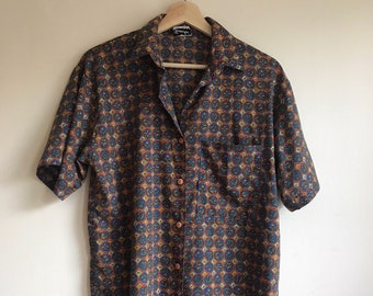 1960s Vintage Blue and Orange Circle Pattern Button Down Shirt Men's Size Small
