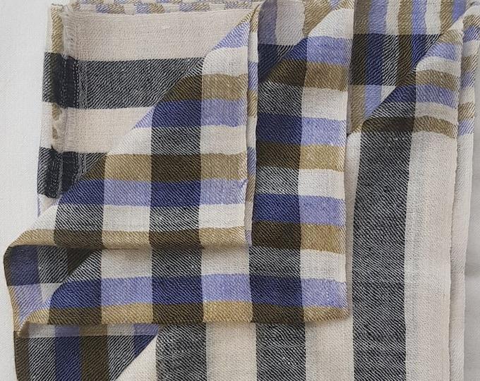Gingham Handloom Cashmere Scarf - Cream Grey & Blue