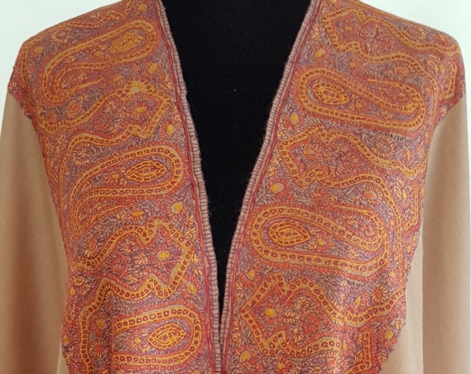 Sheba Royale Paisley Shawl - Light Brown