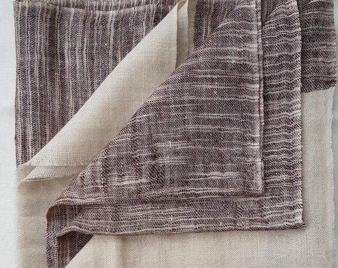 Zebra Stripe Handloom Cashmere Scarf - Chocolate