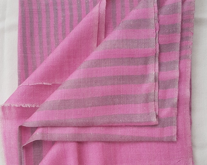 Luxurious Handloom Cashmere Scarf - Pink Olive Grey Awning Stripe
