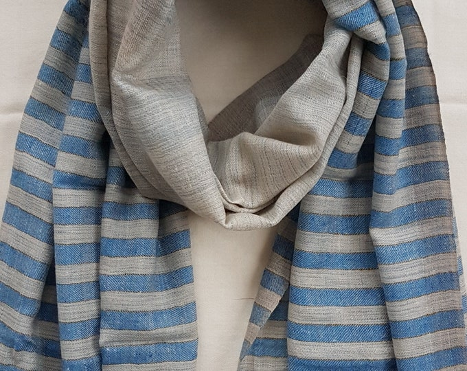 Awning Stripe Handloom Cashmere Scarf - Blue
