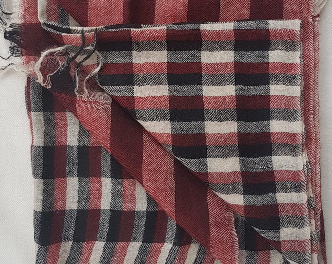 Gingham Handloom Cashmere Scarf - Red & Black