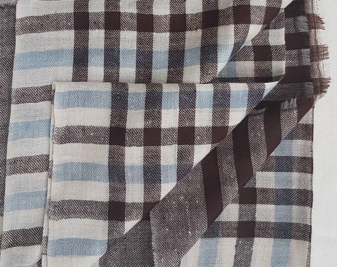 Gingham Handloom Cashmere Scarf - Chocolate & Blue