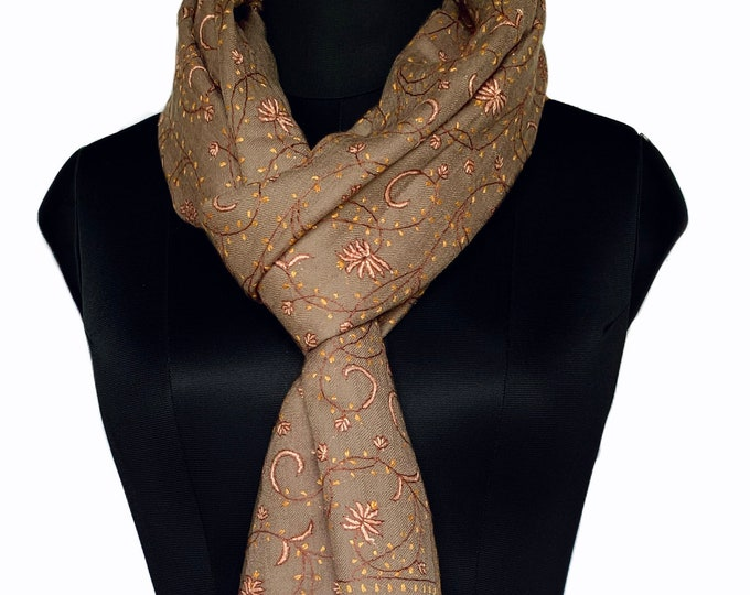 Floral Pine Embroidery Scarf - Ash Brown