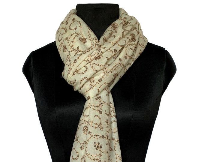 Floral Pine Embroidery Scarf - Cream and Orange