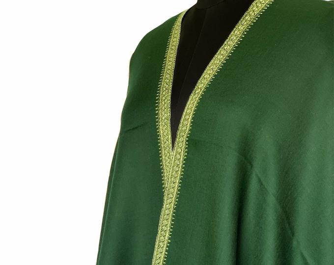 Isabelle Border Shawl - Emerald Green