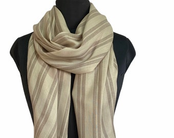 Hand Dyed Pure Wool Awning Stripe Scarf - Beige & Brown