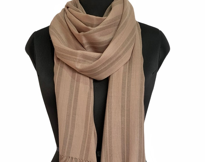 Hand Dyed Pure Wool Awning Stripe Scarf - Brown Beige