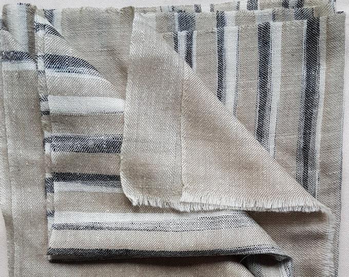 Zebra Stripe Handloom Cashmere Scarf - Grey Beige