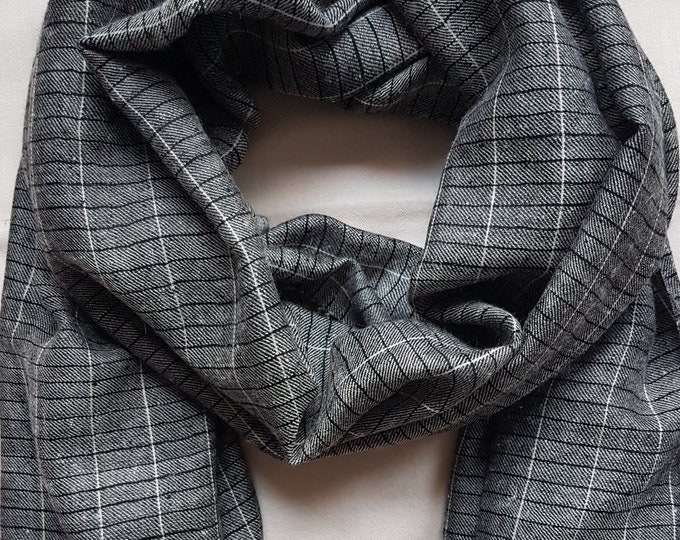 Gingham Handloom Cashmere Scarf - Grey