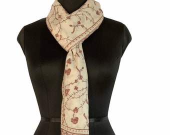 Floral Embroidery Scarf - Cream