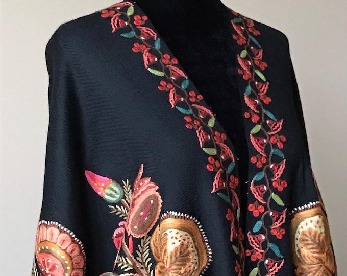 Aïsha Floral Bouquet Wrap - Black
