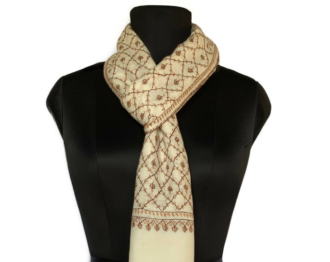 Fall Vines Scarf - Cream & Brown