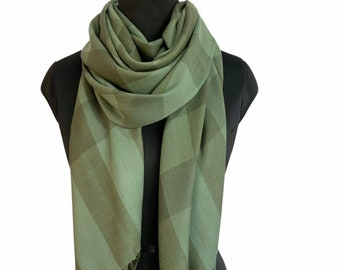 Hand Dyed Pure Wool Bold Check Scarf - Olive
