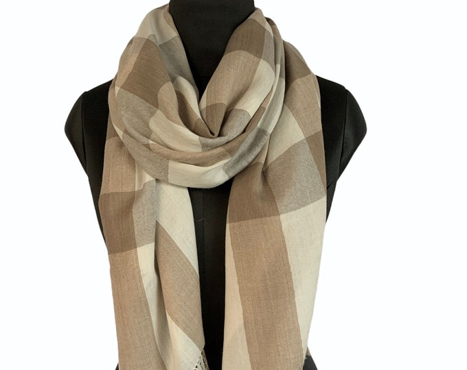 Hand Dyed Pure Wool Bold Check Scarf - Browns