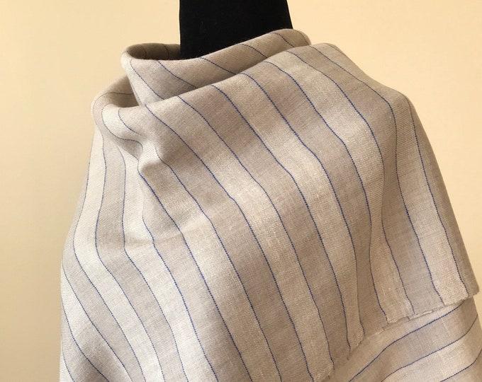 Awning Stripe Handloom Cashmere Scarf - Beige Blue Stripe