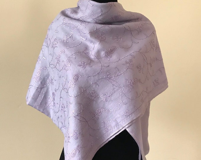 Almond Floral Embroidery Wool Scarf - Pastels
