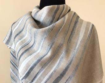 Zebra Stripe Handloom Cashmere Scarf - Black and Hazel wood