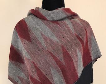 Diamond Handloom Cashmere Scarf - Red Black Shades