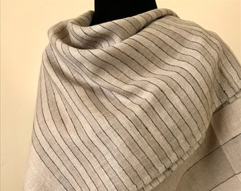 Handloom Cashmere Scarf - Awning Stripe - Light Hazelwood & Bone White