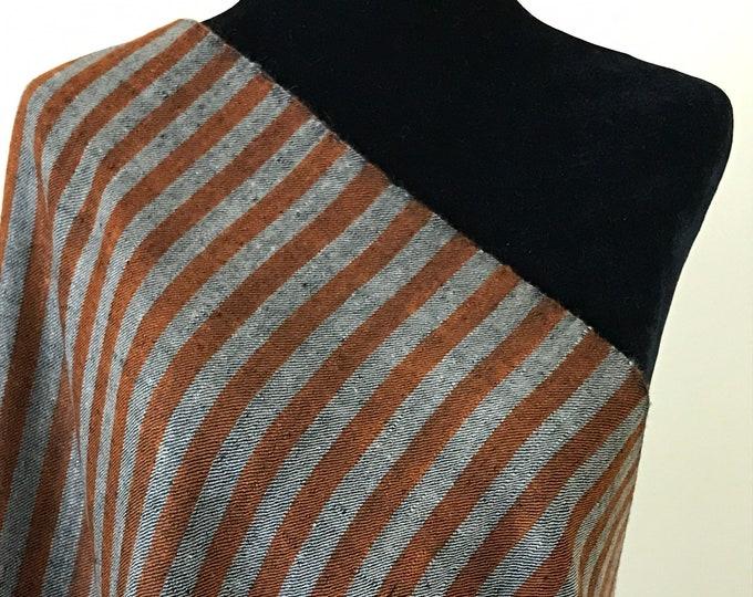 Handloom Cashmere Scarf - Awning Stripe - Black, Rust and Hazelwood
