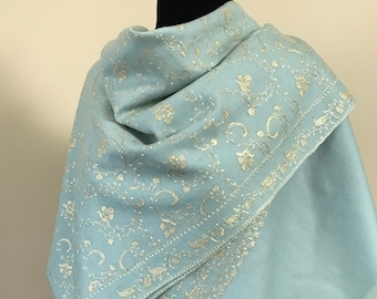 Wool Embroidered Scarf - Pastel