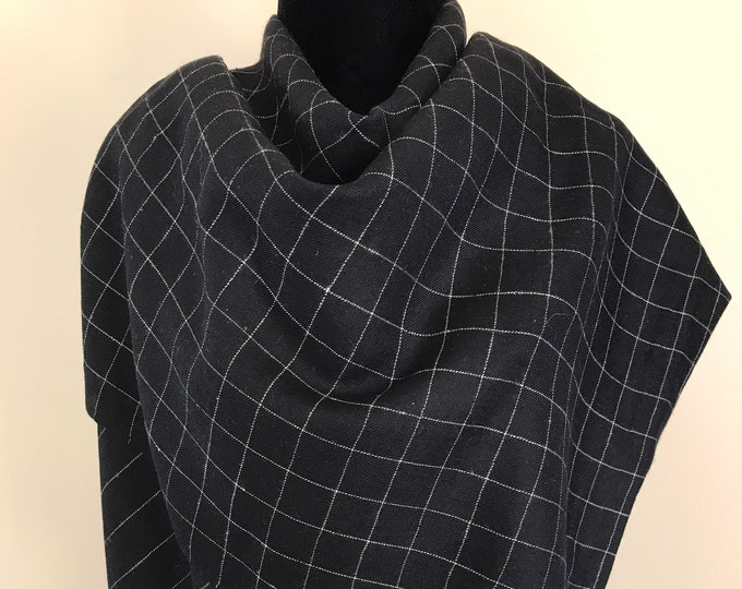 Gingham Handloom Cashmere Scarf - Black
