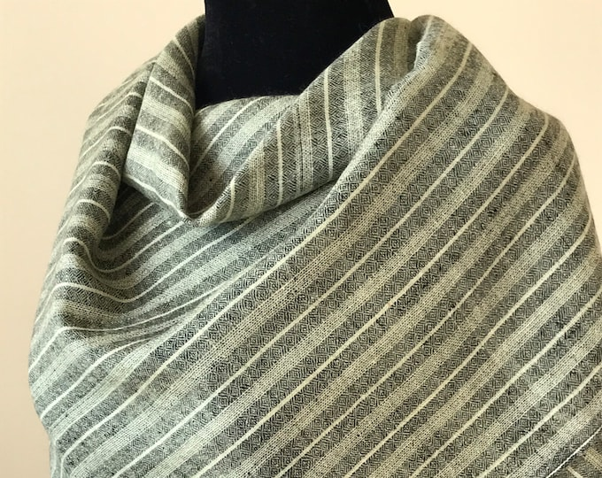 Luxurious Handloom Cashmere Scarf -  Black Olive Green Awning Stripe