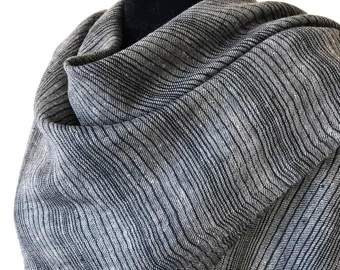 Stripes Handloom Cashmere Scarf - Black