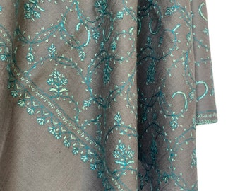 Floral Embroidery Scarf - Grey & Turquoise