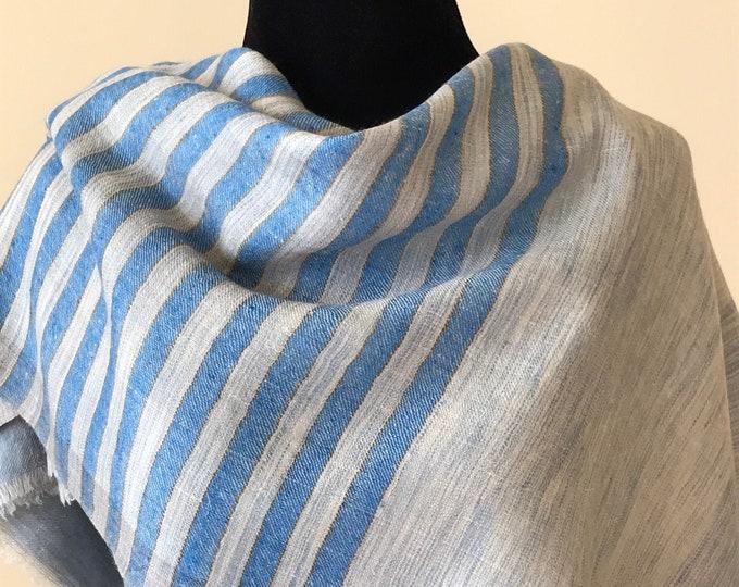 Awning Stripe Handloom Cashmere Scarf - Blue