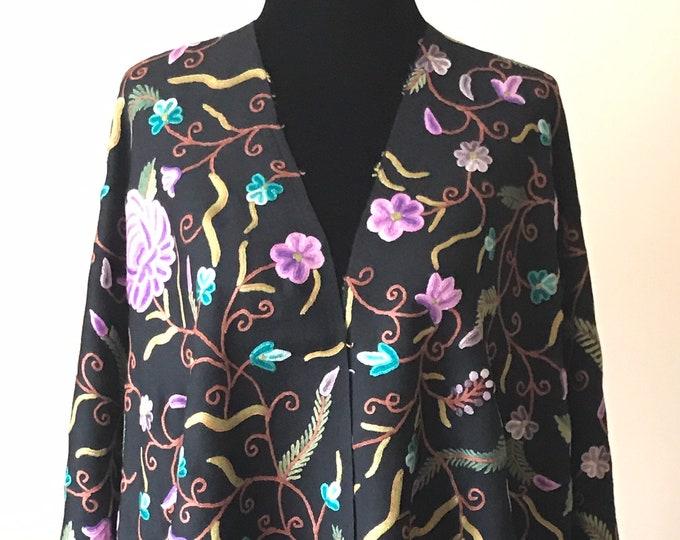 Aïsha Floral Medley Scarf - Black Purple Turquoise