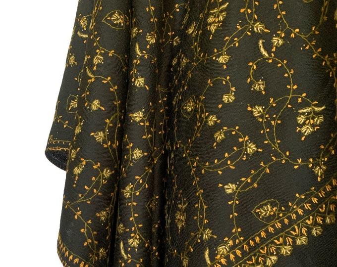 Floral Embroidery Scarf - Black & Hazel Green