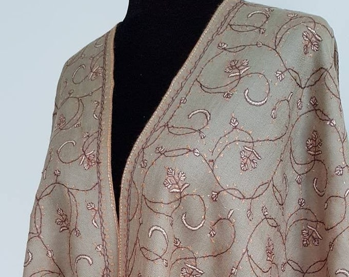 Floral Embroidery Scarf - Light Brown